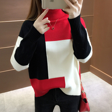 Oversized Knitted Sweater Women Red Patchwork Turtleneck Knitted Winter Jumper K