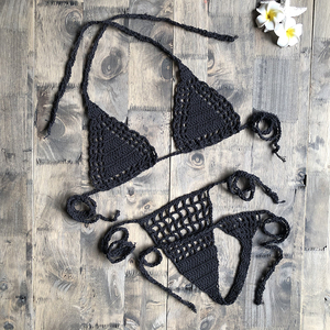 Handmade Crochet Micro Bikini G Thong String Beach Micro Swimwear Sexy Lingerie Sets 2019 Hot Sale