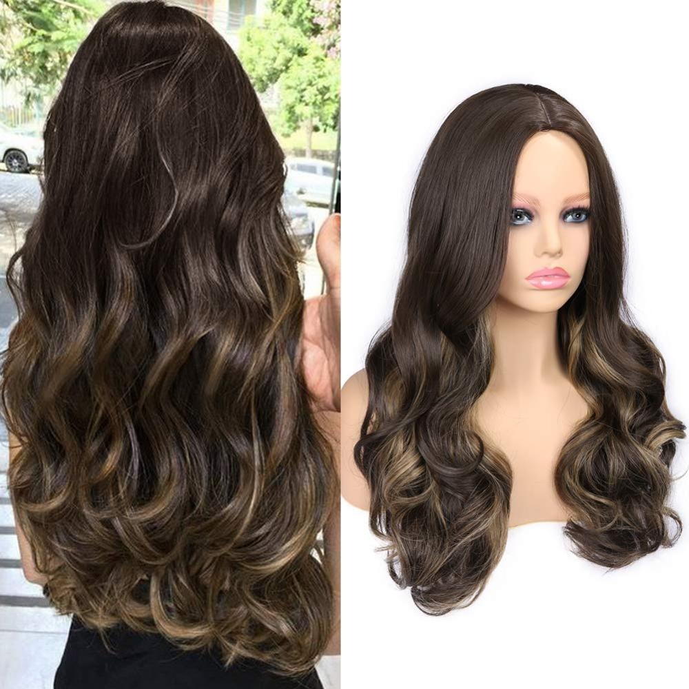 FAVE Ombre Long Wavy Mixed Highlights Dark Brown Color Wig 22 Inch Heat Resistant Fiber Synthetic Hair Wigs For Black Women