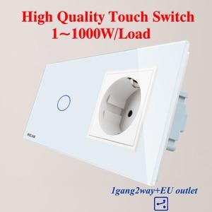 Image 1 - WELAIK 2Frame Crystal Glass Panel Wall Switch EU Touch Switch Screen EU Wall Socket 1gang 2way AC250V A29128ECW/B