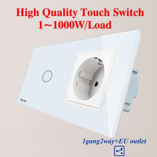 WELAIK 2Frame Crystal Glass Panel Wall Switch EU Touch Switch Screen EU Wall Socket 1gang 2way AC250V A29128ECW/B