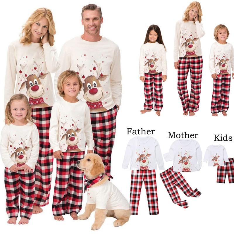 Family Matching Sleepwear Pajamas-Set Top--Pants Deer Xmas Baby Adult Kid Romper