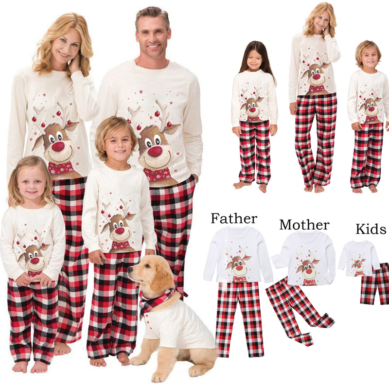 2019 Family Christmas Pajamas Set Deer Print Adult Women Kids Family Matching Clothes Xmas Family Sleepwear 2PCS Sets Top+Pants