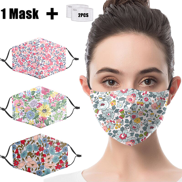 Masks Cartoon Animal Flower Print Reusable PM2.5 Filter Mouth-Muffle anti dust Face mask bacteria proof Flu Mask Adult Washable