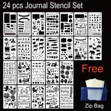 Journal24pcs Stencil Plastic Planner Diy Tekening Sjabloon Dagboek Decor Craft Voor Journal Scrapbooking Geschenken Kaart(China)