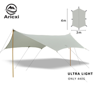 Aricxi 4*3 meters 15D nylon silicone coating high quality outdoor caming tent shelter Butterfly shape tarp