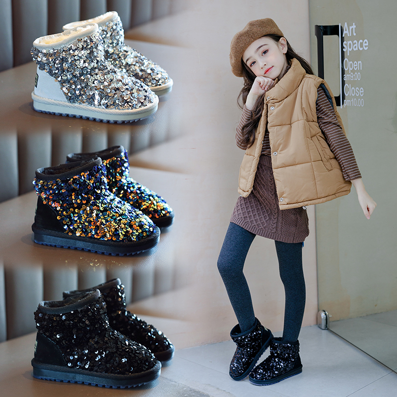AAdct Baby Girls Snow Boots Sequins Fashion Winter Little Kids Boots For Girls Brand Cotton Fur Warm Children Shoes 2019 New