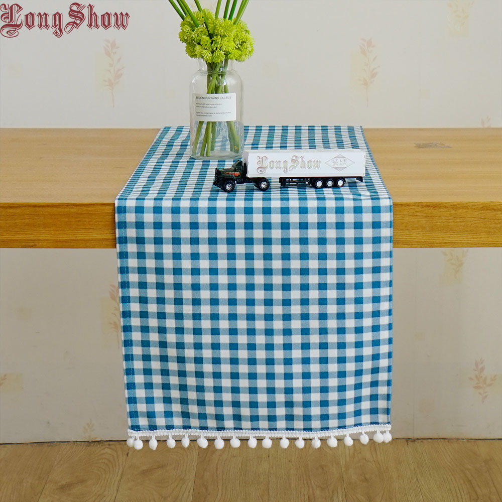 Modern Style Home Christmas Decorative Unique Light Blue Geometric Plaid Modern Style Table Runner With Lovely Braid Ball Lace