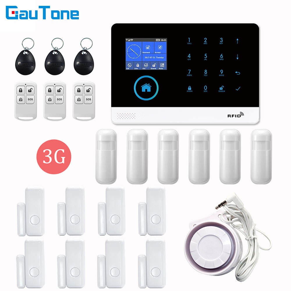 Free Shipping PG103 <font><b>WiFi</b></font> 3G GPRS Home <font><b>Burglar</b></font> Intelligent Security Wireless <font><b>Alarm</b></font> System APP Remote Control For iOS and Android image