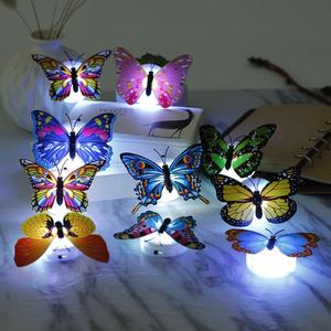 10pcs Colorful Glowing Cute Butterfly LED Pasteable Night Light Color Changing Lamp Home Decoration Wall Lamp Random Color