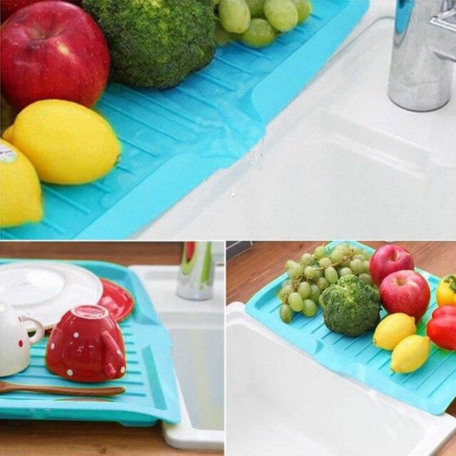 Drain Rack Plastic Dish Drainer Tray Sink Dryer Organizer Silicone Drying Mat Worktop Organizer For Kitchen Accessories 6