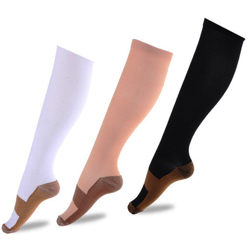 2019 New Copper Infused Compression Socks 24-41cm Graduated Men Women Patchwork Cotton Long Socks S-XXL