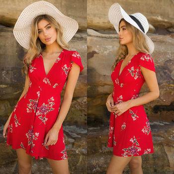 Hot Sale Elegant Lady Summer Casual Sleeve Beach breezy Dress Women Sexy Party Evening V neck High Waist Chiffon Short Dress 2