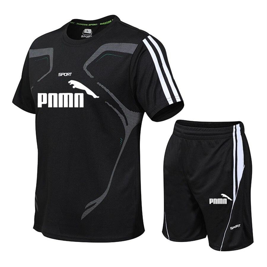 New summer suit men's sports suit fashion casual men's suit men's clothes quick drying T-shirt shorts brand men's sports suit 1