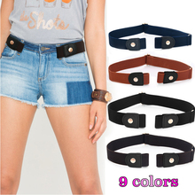 Elastic belt without buckle easy fashion belts for women men gesp vrije stretch riem elastische brown zonder paski damskie