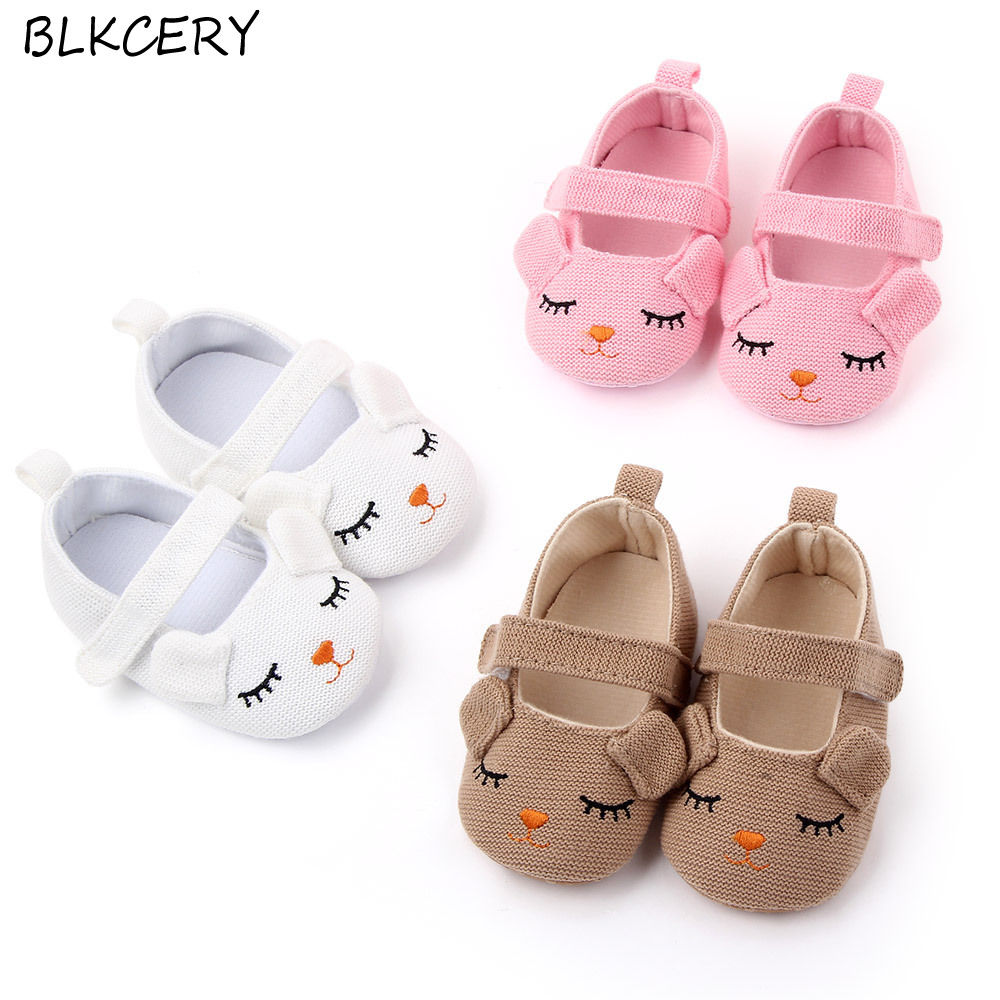 Fashion Baby Girls Crib Shoes Newborn First Steps Toddler Cartoon Knitted Loafers Infant Tenis for 1 Year Old Footwear Doll Shoe