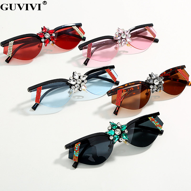 Diamond Cat Eye Sunglasses Women 2020 Rhinestone Vintage Sunglasses Small Lens Retro Sunglasses Men UV400 Eyewear Eyeglasses