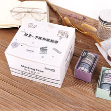 P479 Glistening Green Washi Tape 4-Roll Packing Hand Account Decoration Small Adhesive Paper DIY Color Printing 3 M Bandage PDA