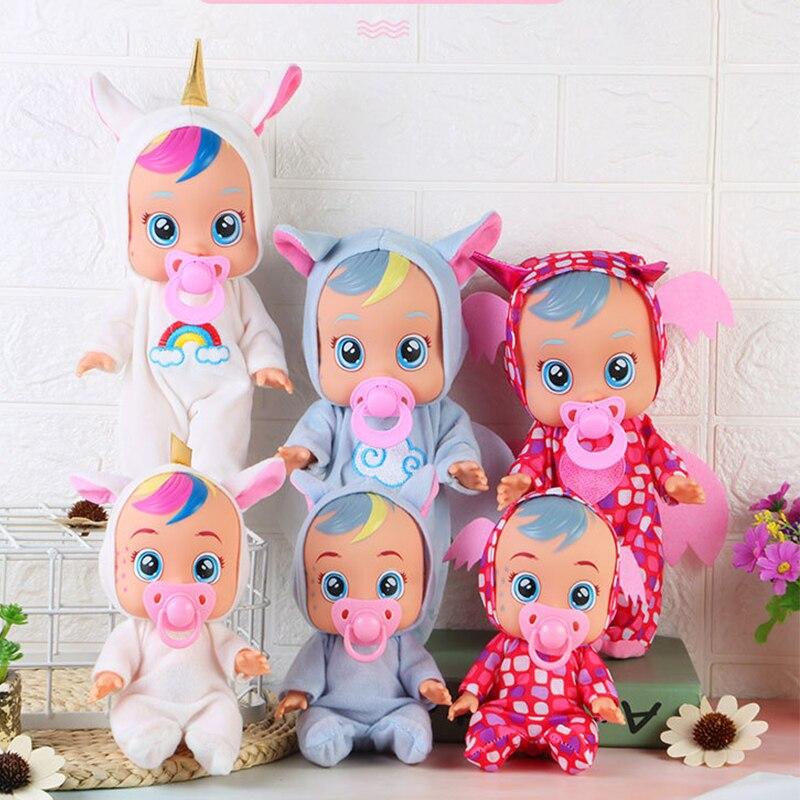 10 Polegada elétrica rasgando bonecas animal unicórnio brinquedo do bebê completo silicone reborn bebê boneca beber surpresa bebe boneca para crianças presente