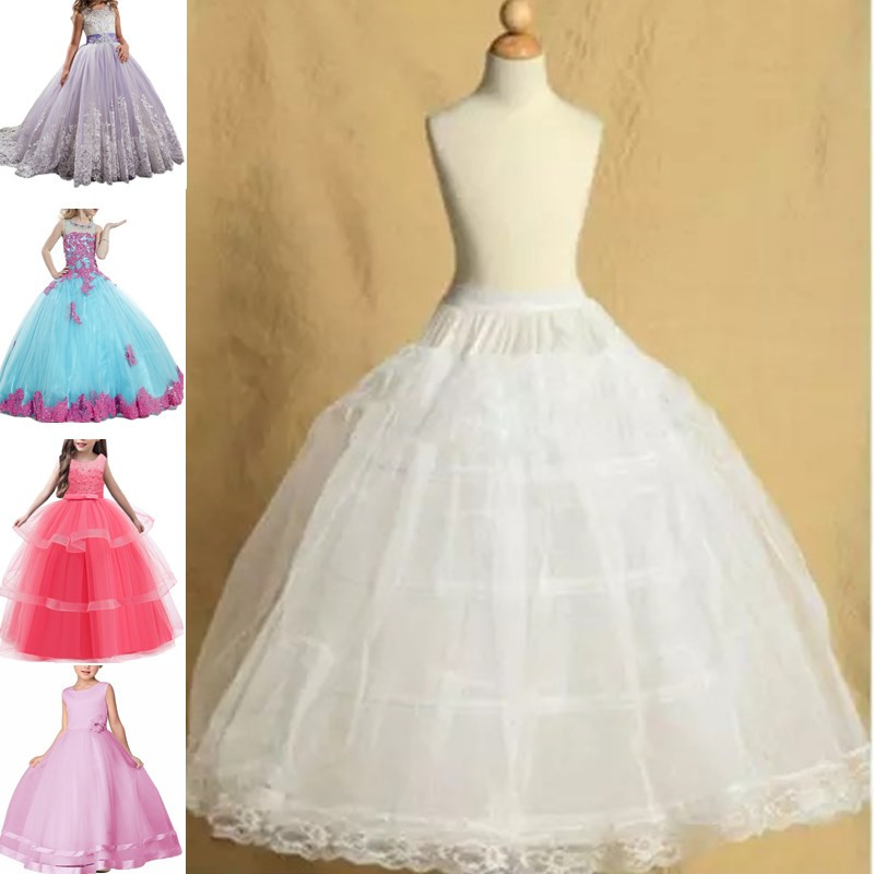 Girl's Children White Petticoat Crinoline Underskirt Flower Girl Party Quinceanera Dress Puffy Petticoat 3 Hoops Fit 2-18 Years