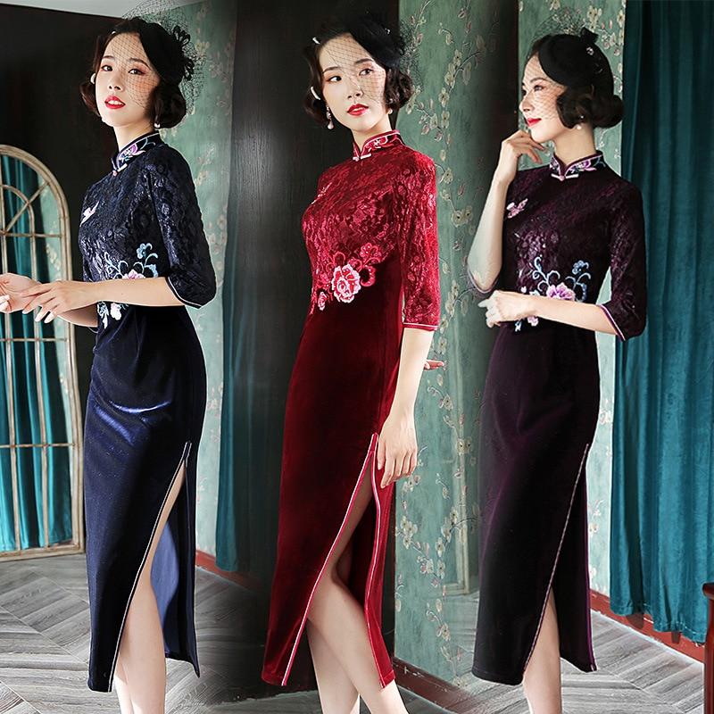 Plus Size Purple Embroidery Velvet Traditional Chinese Retro Cheongsam Dresses Evening Lace Cheongsam Oriental Qipao
