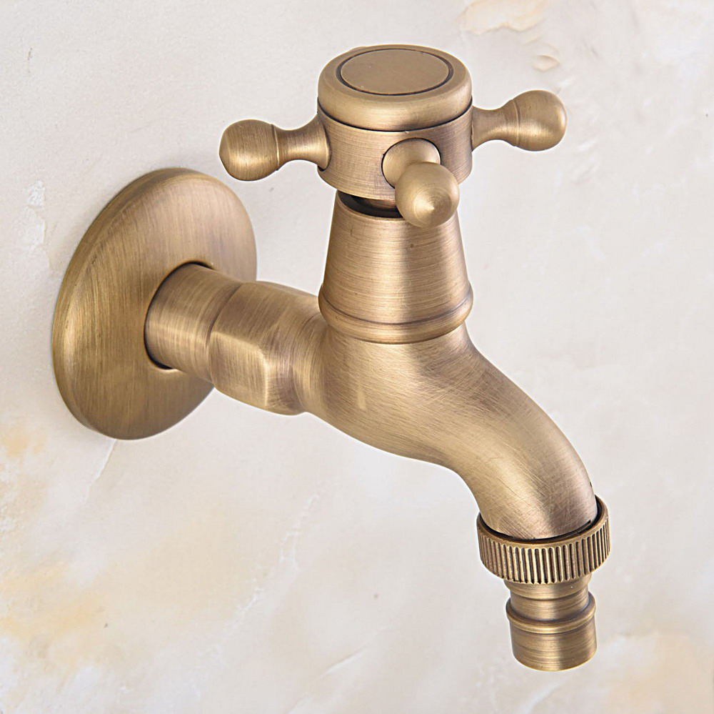 Bathroom Faucet Luxury Antique Brass Water Tap Outdoor Faucet Garden Bibcock Tap Bathroom Washing Machine Faucet Zav322
