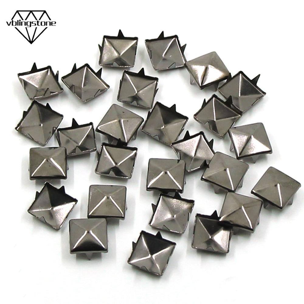 100 DIY Square Cone Spike Metal Stud Rivet Punk Shoes Bag Cloth Accessories