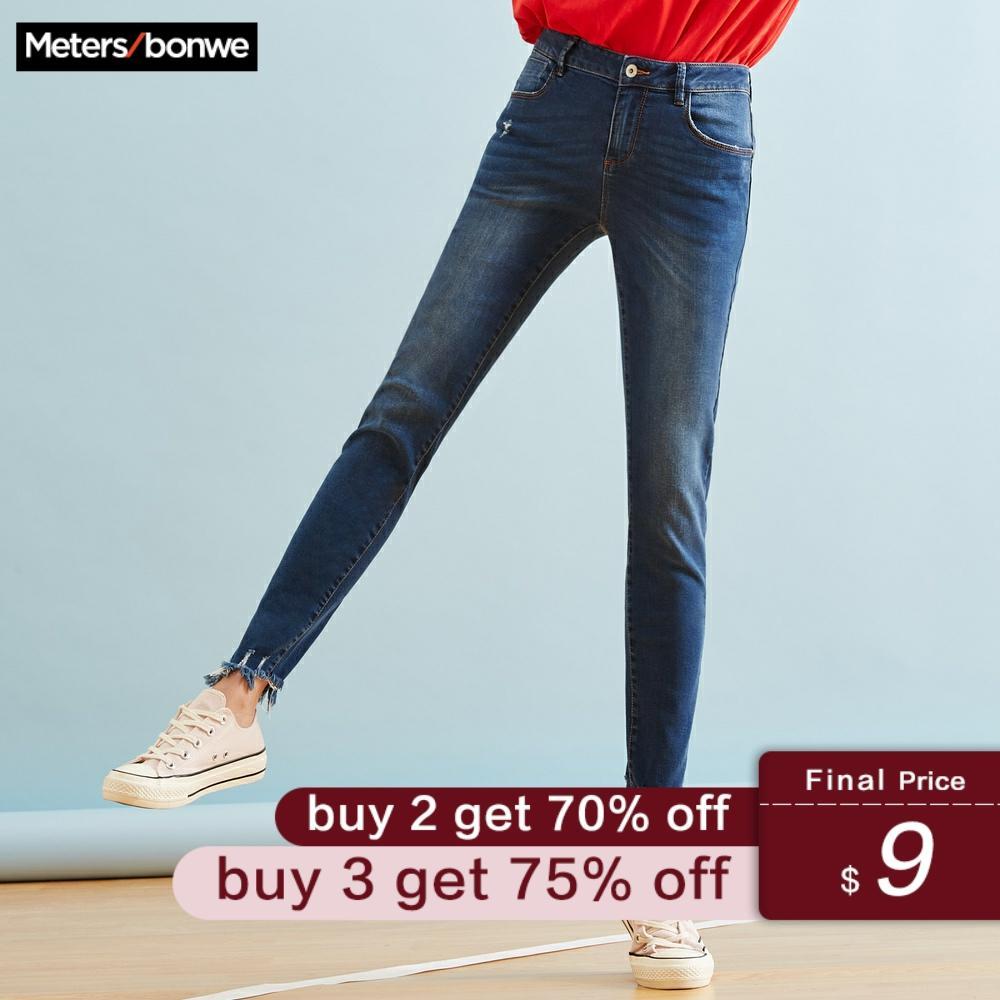 Metersbonwe Regular Jeans For Women Jeans Woman Blue Denim Pencil Calf-Length Pants High Quality Stretch Waist Women Jeans