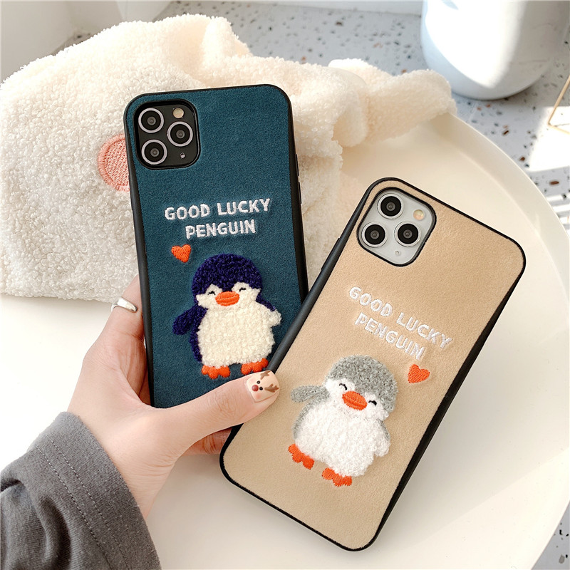 3D Embroidery Penguin Phone Cases For Iphone 11 Pro Max Case Cute Cartoon Cover Case For Iphone 7 8 Plus X Xr Xs Max