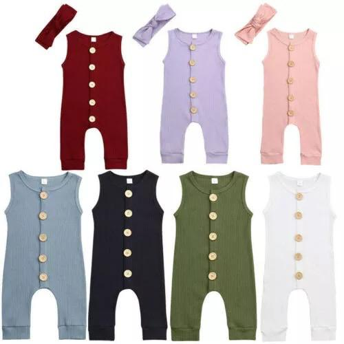 Newborn Kid Baby Boy Girl Knitting Button Romper Sleeveless Summer Outfits Clothes