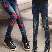 2020 wiosenne ubrania dla dzieci dziewczęce dżinsy przyczynowe slim cienki dżins baby girl jeans dla duże dziewczynki dzieci jean długie spodnie