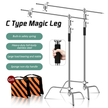 2PCS 2.6m/10in C Stand with Sliding Leg Kit,Wheels,Grip Head & Arm,Chrome plated