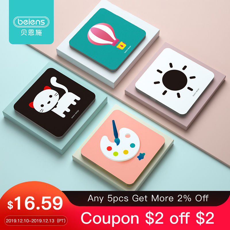 Beiens Baby Montessori Toys Pocket Flashcards For 0-36 Months Newborn Learning Card Toys Children Early Educational Cognize Card