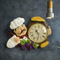 Europe Vintage Wall Clock Home Decor Resin Chef Statue watch Mute Quartz Clock for living room Kitchen Wall Decor Hanging Clock