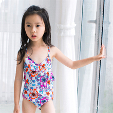 New Model Girls One Piece Swimsuit 2-7 Y Baby Girl with flower pattern Children bathng suit child summer swimming pool wear children s garment girl summer wear children suit new pattern child nail bead skirt 2 pieces kids clothing sets