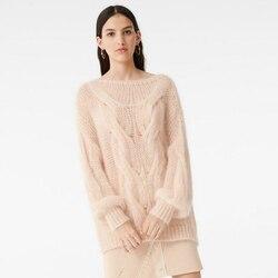 2020 primavera y verano ahueca hacia fuera elegante dulce mujer suelta largo mohair suéter