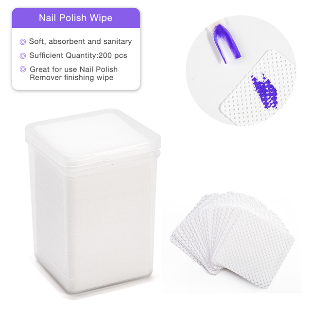 200pcs/lot Lint-Free Nail Polish Remover Cotton Wipes Removal Gel Polish Nail Cleaner Non-toxic Paper Pad Napkins Cleaner