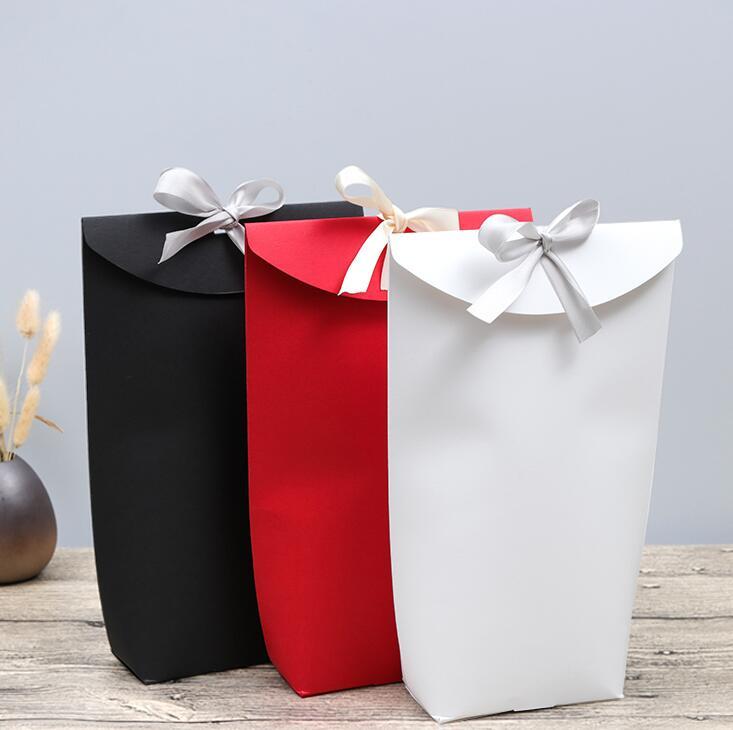 20 pièces sac de papier Kraft blanc noir boîte à bonbons faveurs de mariage boîte-cadeau fête d'anniversaire décoration sacs avec ruban