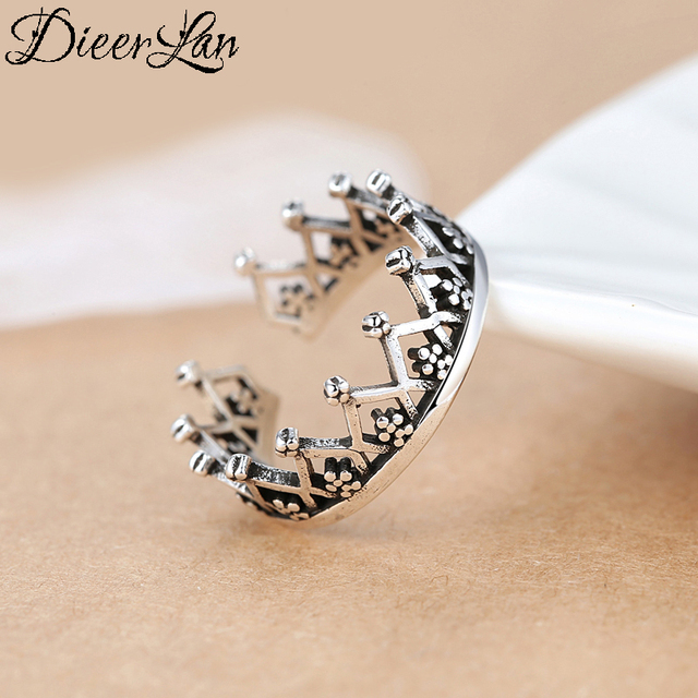 Bohemian Ethnic 925 Sterling Silver Crown Rings for Women Bridal Wedding Vintage Finger Rings Christmas Gifts 1