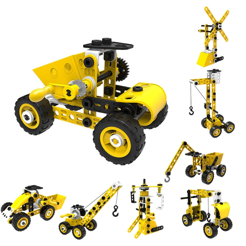 54DF Intellectual Assembly Car, 1 Set DIY Construction Vehicle Toy, Nut Engineering Vehicles for  for Kids Boys
