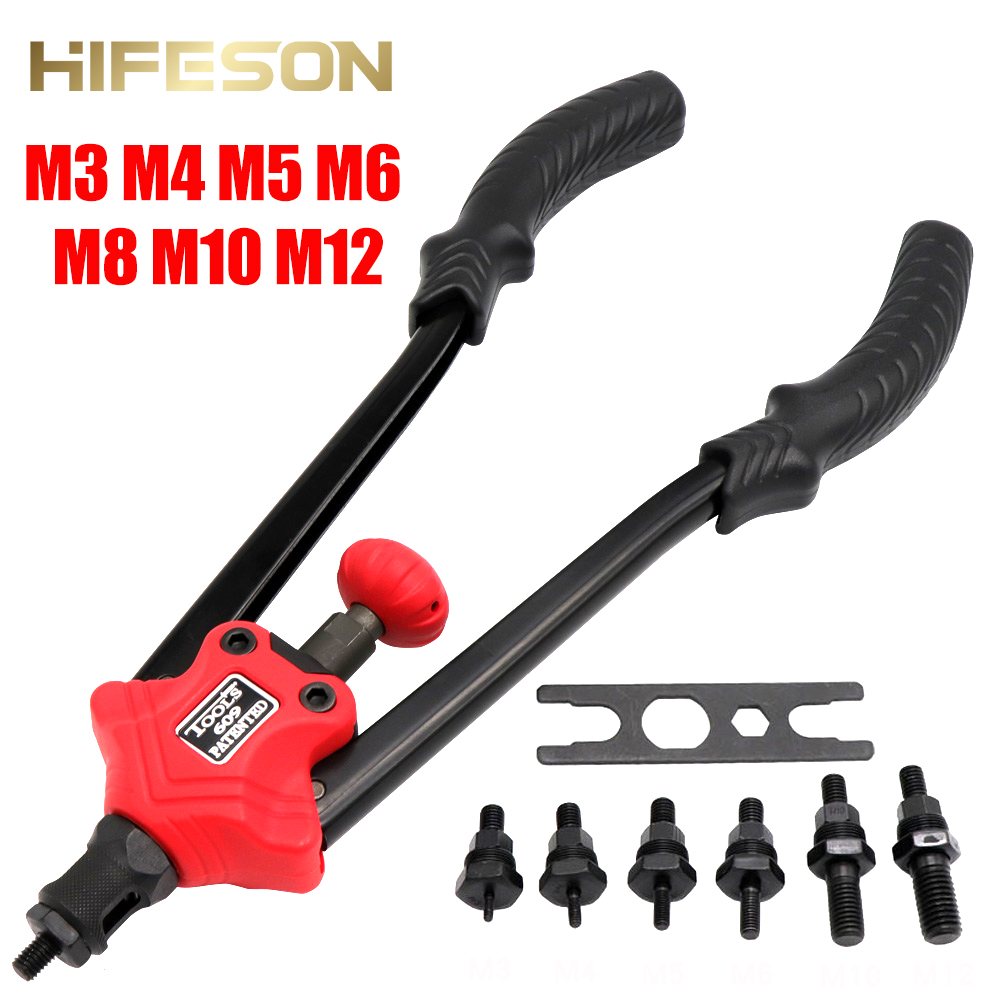 Hand Rivet Nut Guns Insert Threaded Mandrels Manual Riveters Nut Gun For Riveting Rivnut Tool M3 M4 M5 M6 M8 M10 M12 Nuts