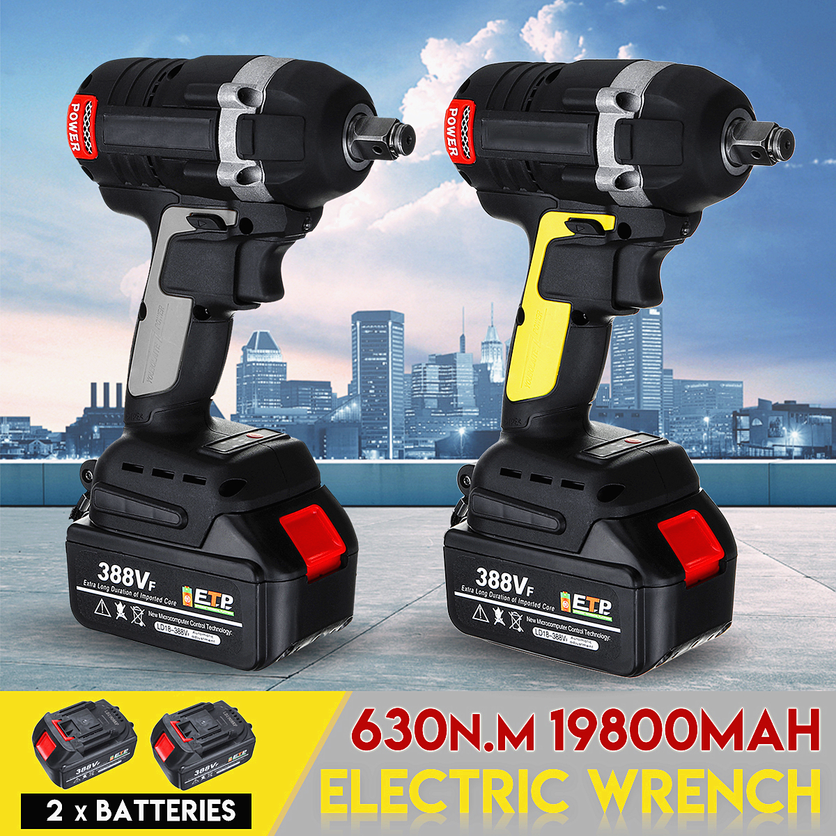 Upgraded 630NM 388VF 19800mAh Rechargeable Brushless Cordless Electric Impact Wrench 3 in 1 with 2 Li ion Battery Power Tools|Electric Wrenches|   - AliExpress