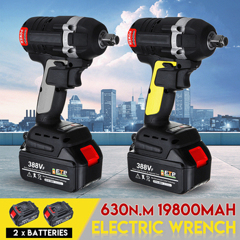 Upgraded 630NM 388VF 19800mAh Rechargeable Brushless Cordless Electric Impact Wrench 3 in 1 with 2 Li-ion Battery Power Tools electric impact wrench 98 128 168 188vf electric brushless li ion battery wrench 10mm chuk with box cordless speed control power