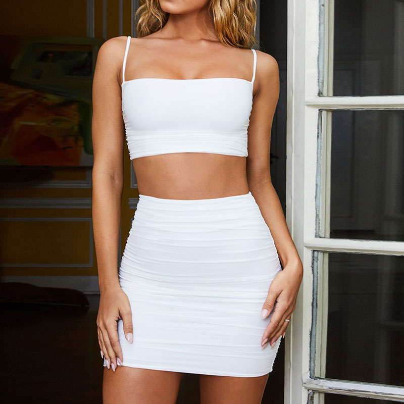 Bangniweigou Square Neck Bandage Skirt Set 2 Layers Ruched Camisole Mini Skirt Two Piece Set Women Club Outfits White Green Pink 1