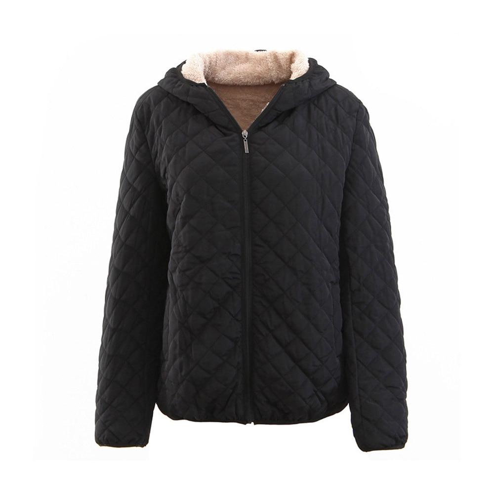 Casual Winter Warm Plus Size Black Women Cotton Overcoats Slim Thick Hooded Zipper Plaid Female Outwear Jackets   Parkas   2019 Coat
