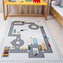130*80cm Children's Road Game Carpet Non-Slip Floor Mat for the Nursery Crawling Pad Boys Bedroom Rugs Kids Room Decoration