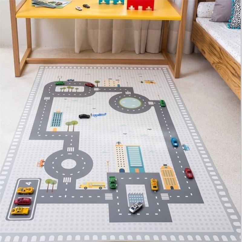 130*80cm Non-Slip Baby Floor Mat Road Baby Room Crawling Pad Boys Bedroom Rugs Kids Room Decoration Boy Game Floor Rug Carpet
