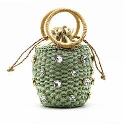 Rattan Woven Women Handbag Handmade Straw Bag Diamond Pearl Bohemia Summer Beach Bags Wicker Knitted Female Designer Luxury Tote
