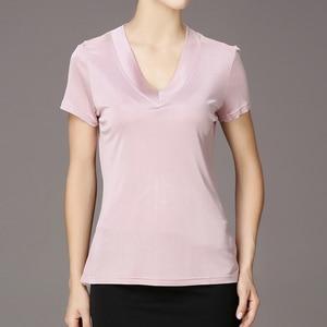 Image 5 - T Shirt manches courtes pour femmes, 100% en soie Pure, col en V, tricoté, taille L XL XXL XXXL, haut basique