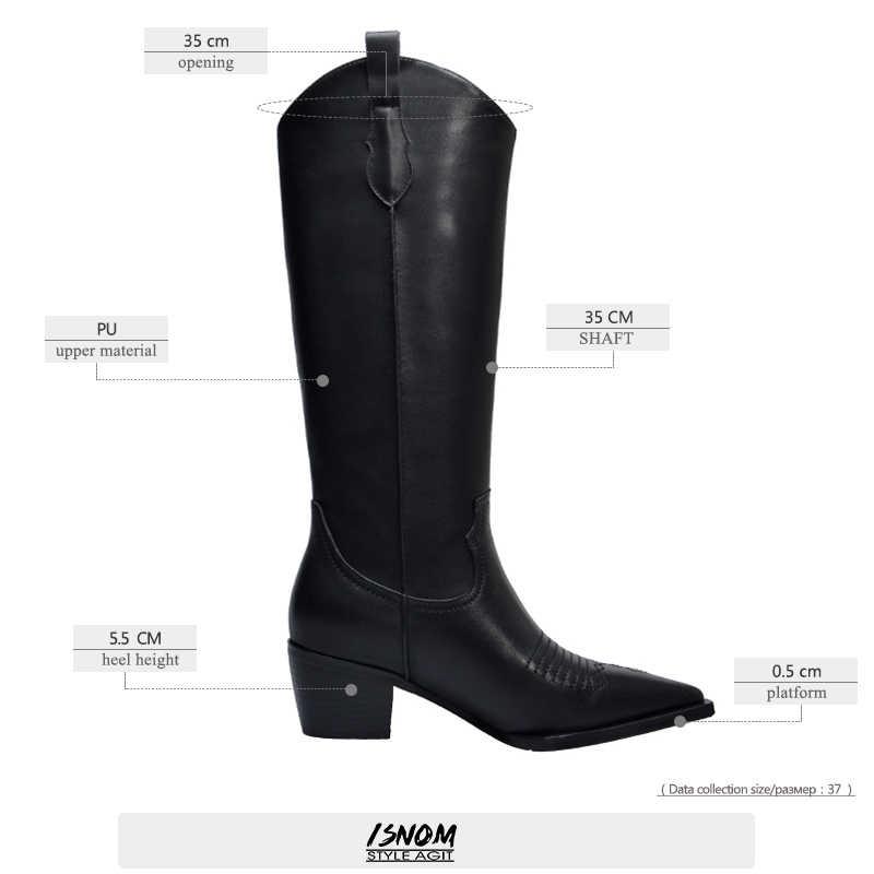 ISNOM Western Stiefel Frauen Knie Hohe Cowboy Stiefel Mode Spitz Nähen Schuhe Weibliche High Heels Dicke Schuhe Damen Herbst